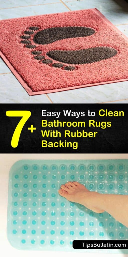 Follow these step-by-step instructions to wash-bathroom-rugs. Learn how cold water, baking soda, and laundry detergent come together to remove mildew and mold from your bathroom's bath mat. This article provides you with the safest ways to clean a bath rug. #clean #bathroom #rugs #rubber #backing