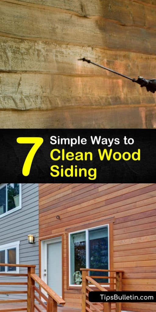 Learning how to clean wood siding is a basic home improvement task, whether you use a garden hose, hand scrubbing method, bleach, a store-bought cleaning solution, or a DIY recipe to remove grime. #cleaning #wood #siding #howtoclean #woodsiding