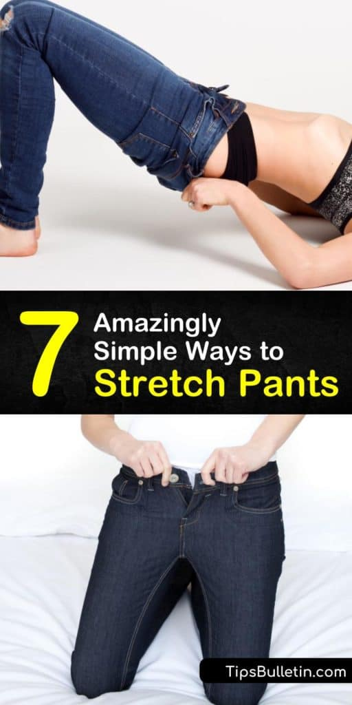 Learn how to stretch a favorite pair of leggings or pair of jeans back to their original shape. Put on a pair of pants and do lunges while the material is damp, wash the pants in cold water and stretch them on a hanger to dry. #stretchpants #stretchingpants #pants