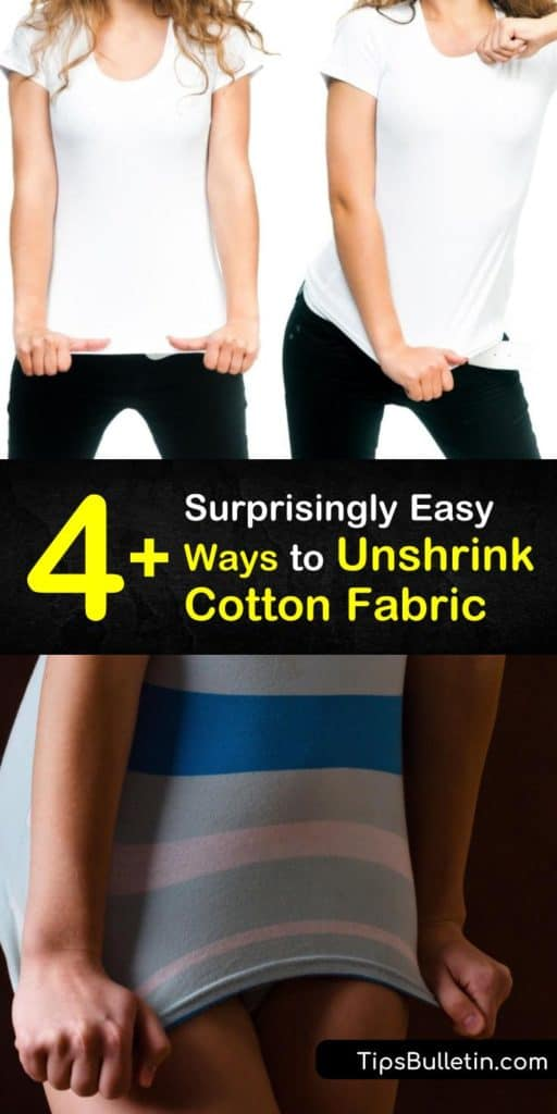 Accidentally shrinking your favorite cotton or rayon t-shirt is disappointing. Discover how to unsrhink-clothes made of cotton back to their original size using lukewarm water, fabric softener, Borax, and white vinegar. #unshrinkcotton #unshrinking #cotton #stretch