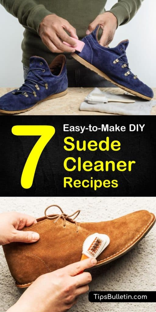 Try these 7 natural DIY suede cleaner tips on how to remove stains on your suede shoes, couch, ugg boots, and jackets. Learn how to use household stain removers such as baking soda, vinegar, and rubbing alcohol to get rid of tough stains on your suede garments. #suedestainremover #suede #cleaning