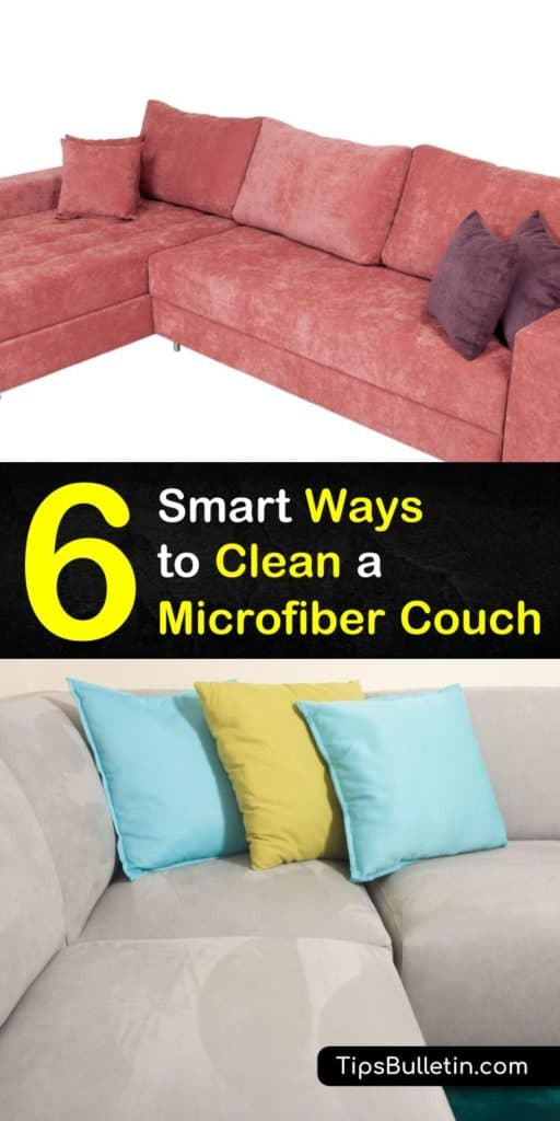 Learn how to clean a microfiber couch, including tips on cleaning the suede sofa with vinegar, rubbing alcohol, Windex, Dawn, or baking soda, especially how to get simple stains out quickly. #cleansofa #suede #couch #microfiber