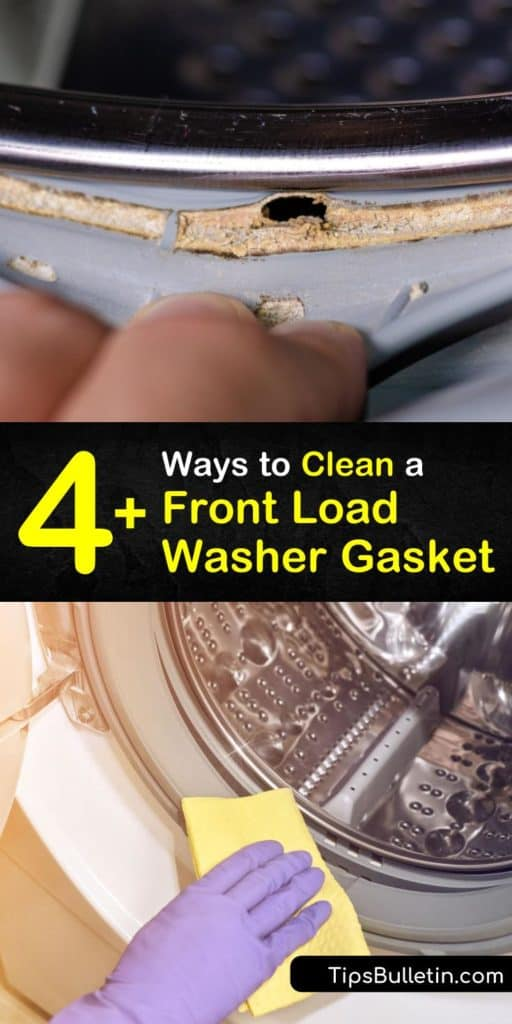 Learn how to clean a high efficiency front loading washing machine gasket to keep it running properly. Clean the front loader seal and dispenser regularly with white vinegar, baking soda, and hot water. #washer #gasket #cleaning #washingmachine