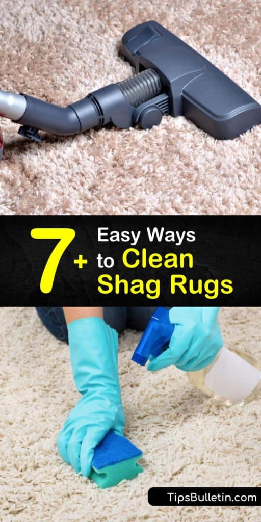 Discover how to clean high pile area rugs and wool rugs easily with a steam cleaner and other rug cleaning solutions. Shake the rug outside, vacuum it with the beater bar attached, give it a dry bath, and spot clean it to remove stains. #shagrug #cleaning #howto