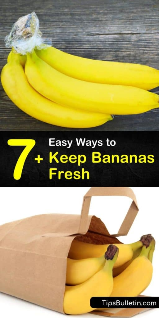Learn how to store bananas at room temperature, or in the fridge and freezer. Avoid placing them near ripe fruits that release ethylene gas to slow the ripening process and use overripe bananas to make banana bread. #storingbananas #bananas #fresh #preserve