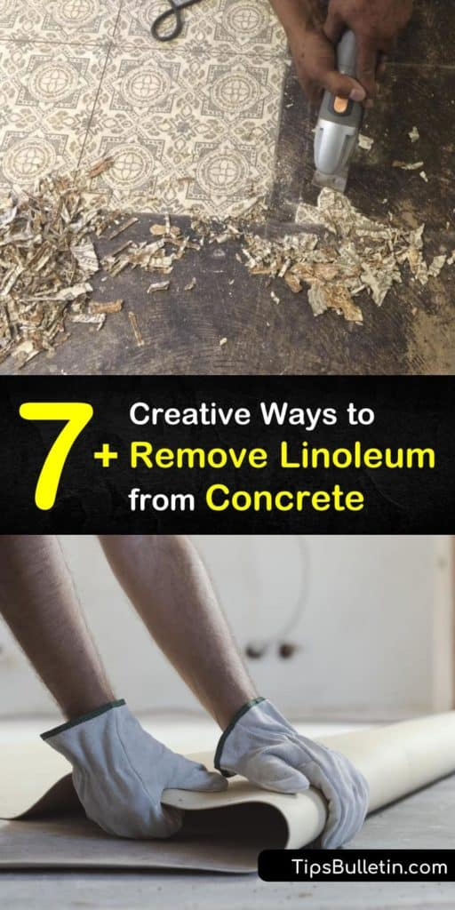 If your old linoleum looks drab and dated, it's time to install a new floor. Learn how to remove vinyl flooring from a subfloor or concrete floor using a utility knife, floor scraper, and adhesive remover. #linoleum #remove #concrete
