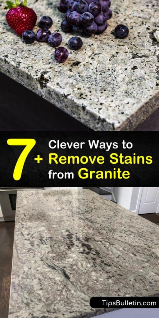 Gather your favorite household cleaning products like baking soda, plastic wrap, and paper towel and use them to create homemade stain removal products and sealant that tackle tough water stains on natural stone. #howto #remove #granite #stains