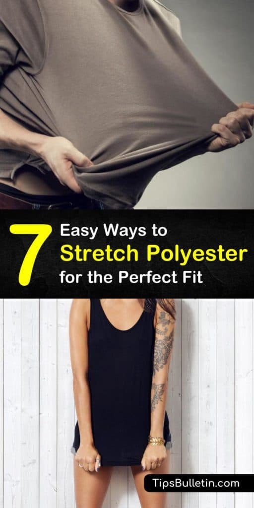 Is your polyester shirt too small? Learn how to stretch polyester fabric and 4 way stretch fabrics using a spray bottle, warm water, and conditioner, and stretch your polyester blend t-shirt back to its original size. #howto #stretch #polyester