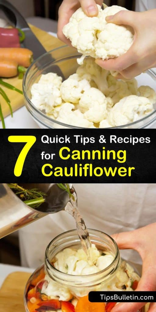 Get creative when you can cauliflower and learn how to use pint jars and a boiling water bath to store your fresh cauliflower florets with other spices and veggies like red pepper, black peppercorns, and white vinegar. #howto #canning #cauliflower
