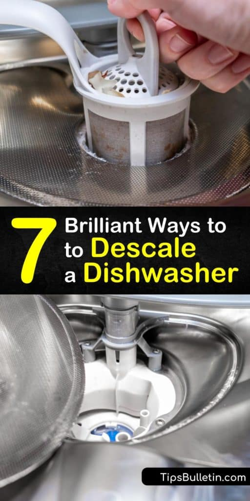 Dishwashing detergent is less effective during the wash cycle if you have hard water. Learn how to descale the spray arms and remove grime and mineral deposits from the bottom of the dishwasher using common household solutions. #descale #dishwasher #howto