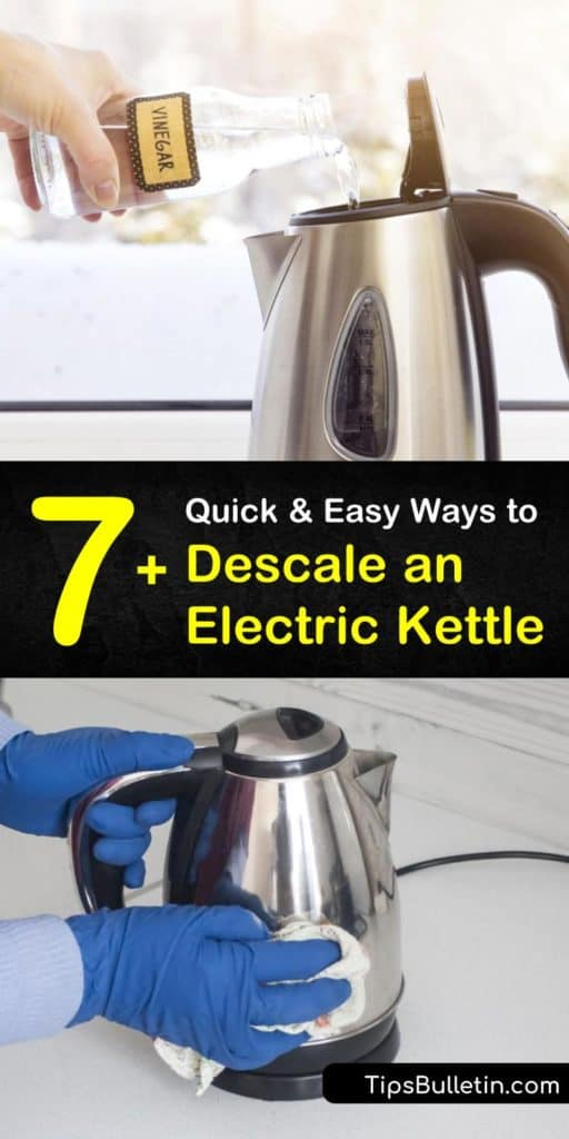 Learn how to descale an electric kettle using household items like citric acid and baking soda. These DIY tricks get rid of mineral deposits and limescale build up, allowing the heating element to work better. Just add ingredients to boiling water to descale a kettle. #descale #electric #kettle