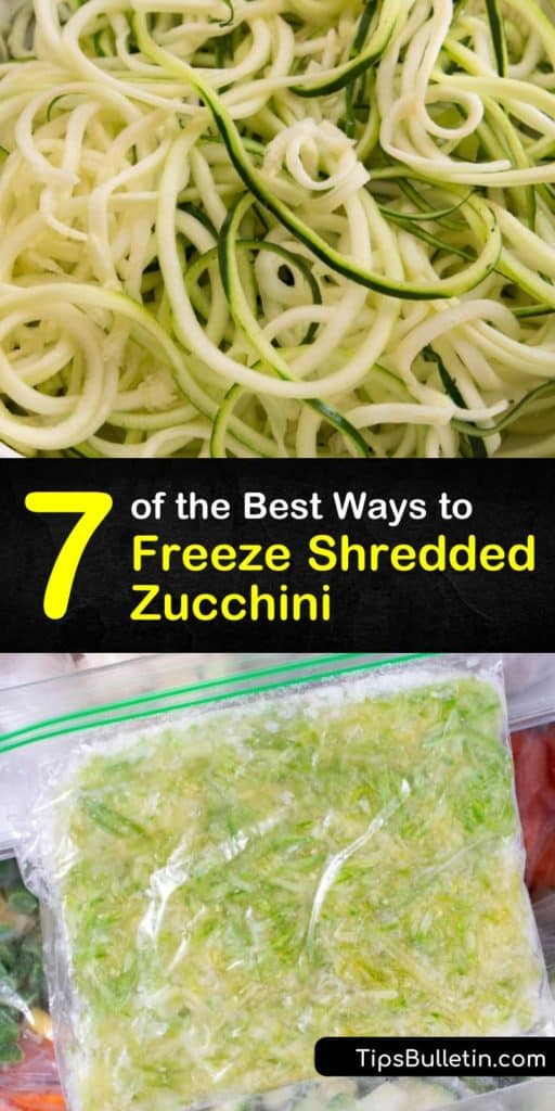 Prepare your taste buds for delicious zucchini bread and other treats made from frozen zucchini using this guide for blanching, shredding, and freezing zucchini and other similar veggies in freezer bags that last all year long. #freeze #shredded #zucchini