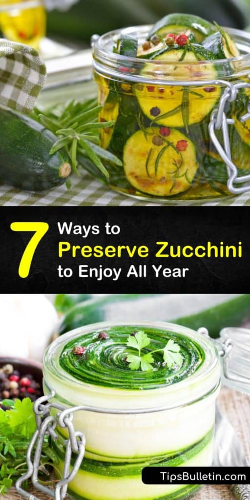 Discover how to preserve a good harvest by drying, canning, and blanching, and freezing zucchini in freezer bags. Use frozen zucchini to make zucchini bread, dried zucchini to make soups, and canned zucchini to make pickles. #howto #preserve #zucchini