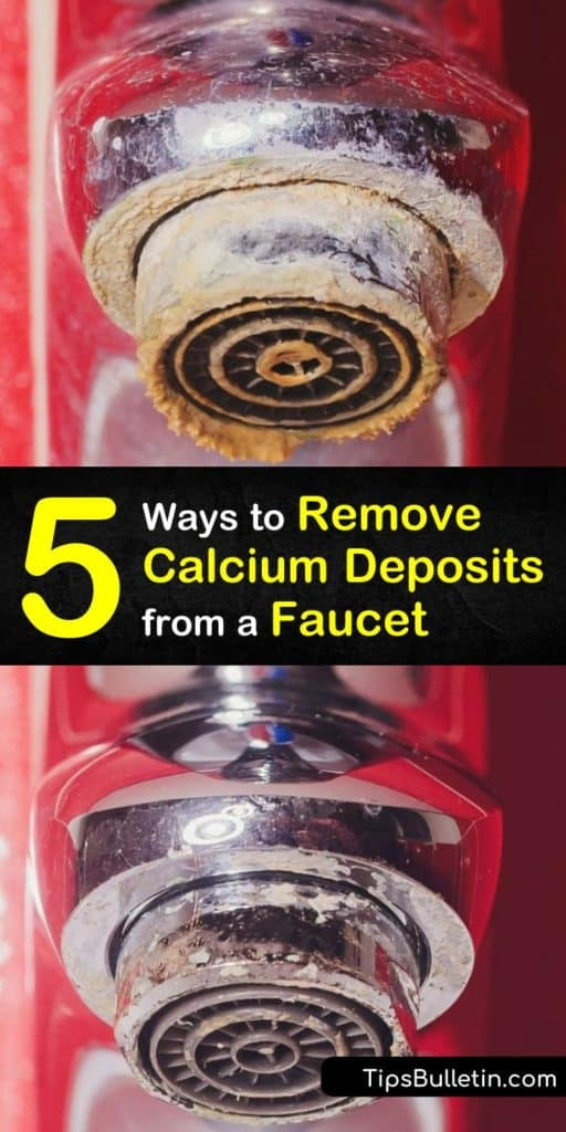 Discover how to get your kitchen and bathroom faucet clean and shiny by removing mineral deposits. Remove calcium buildup and limescale with white vinegar or lemon juice, a plastic bag, and a toothbrush. #remove #calcium #deposits #faucet #descale