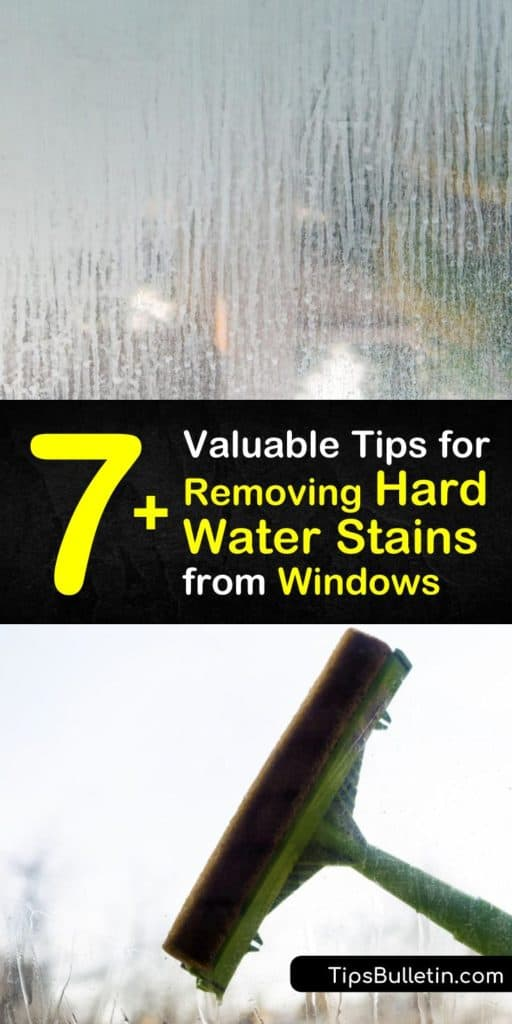 Learn how to remove hard water stains from indoor and outdoor windows, whether from showering or a sprinkler. Apply a glass cleaner like vinegar or lemon juice with a spray bottle or cloth. After you're done scrubbing the cleaning products, squeegee dry. #windows #cleaning #hardwater #stains