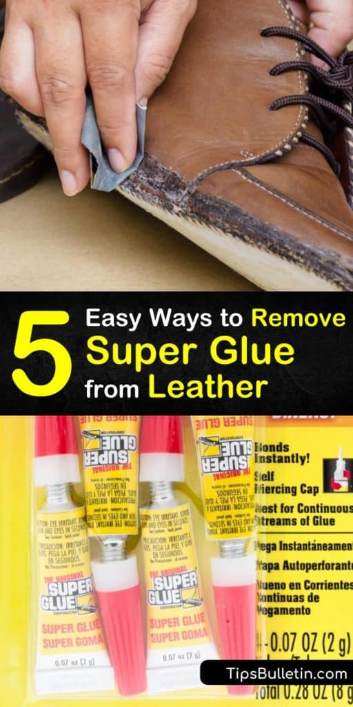 Learn how to remove super glue stains from suede and leather upholstery and clothing by applying a super glue remover to the affected area. Use acetone nail polish remover and a cotton ball to remove glue. #removing #superglue #leather