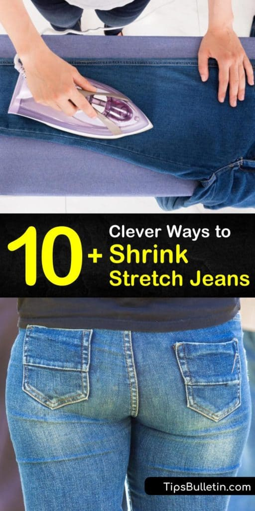 Combine high heat from your washing machine and dryer to shrink jeans made of spandex and get the perfect fit. Discover some DIY ways for how to target the waistband and other problem areas and make your stretch jeans fit better than ever before. #howto #shrink #stretch #jeans