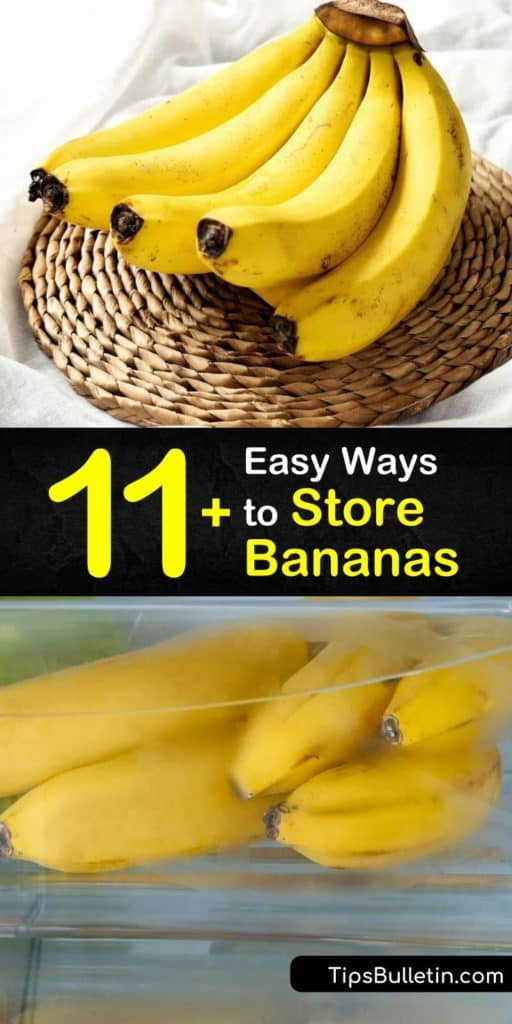 Find out how to store bananas to obtain different ripeness levels. Keep bananas fresh by covering their stems with plastic wrap, or speed up their ripening by storing them beside ripe avocados. Freeze overripe bananas or use them in banana bread or smoothies. #bananas #storage #howto