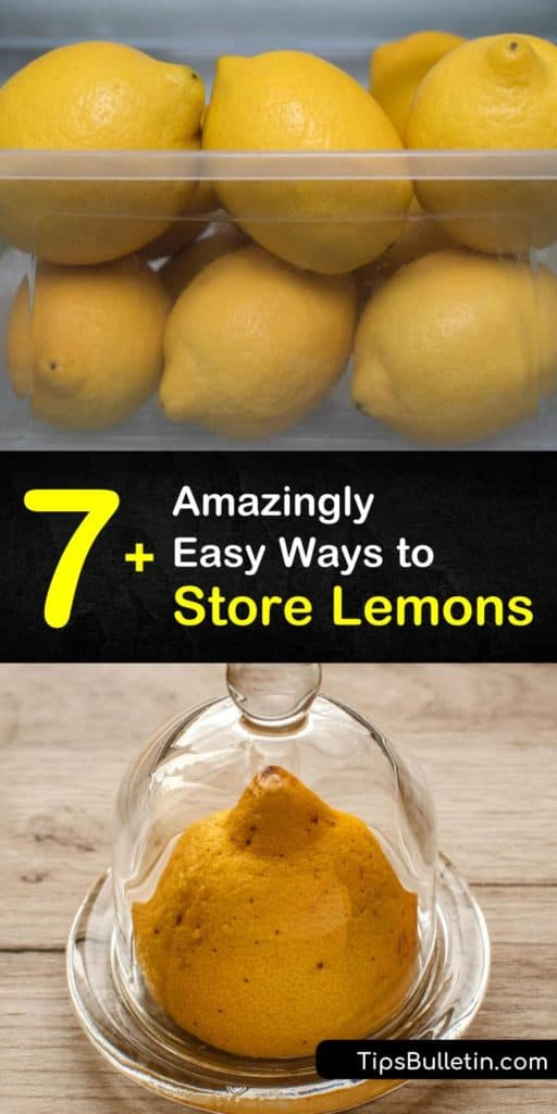 Learn how to store cut lemons upside-down on a plate in the fridge or freeze lemon juice in ice cube trays. Whole lemons only last a couple of days on the countertop and are best stored in a plastic bag in the crisper drawer for up to a whole month. #howto #storing #lemons