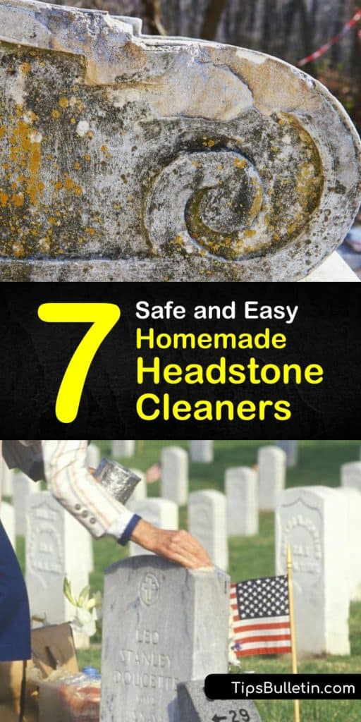 Start cleaning gravestones and removing lichen and mildew in order to honor your loved one. Combining homemade cleaning products like bleach, clean water, and a bristle brush or scraper keeps their headstones clean so their memory lives on for decades. #homemade #headstone #cleaner