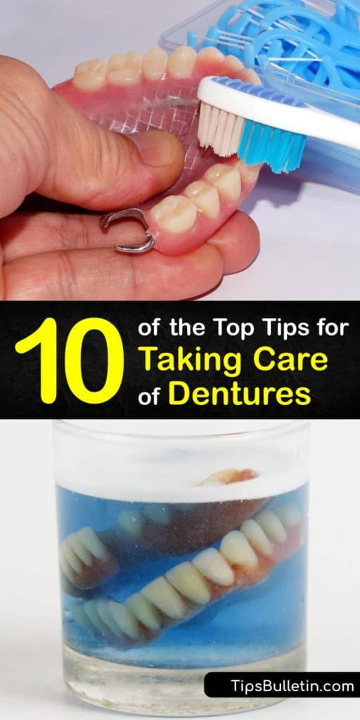 Learn all about denture care, including tips from the American College of Prosthodontists. Soak your dentures overnight in a denture cleanser recommended by the American Dental Association. Then, clean them with a denture brush or toothbrush with soft bristles. #dentures #howto #care #clean