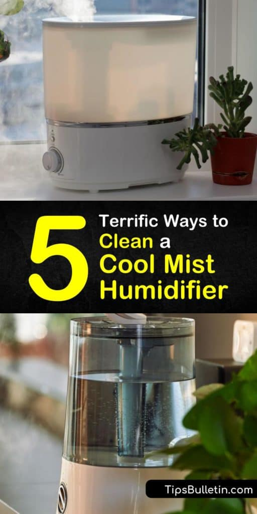Learn how to clean a cool mist humidifier to remove mineral deposits and keep it free of bacteria, mold, and mildew. Disassemble the water tank from the base of the unit and clean it with white vinegar and bleach. #cleaning #cool #mist #humidifier