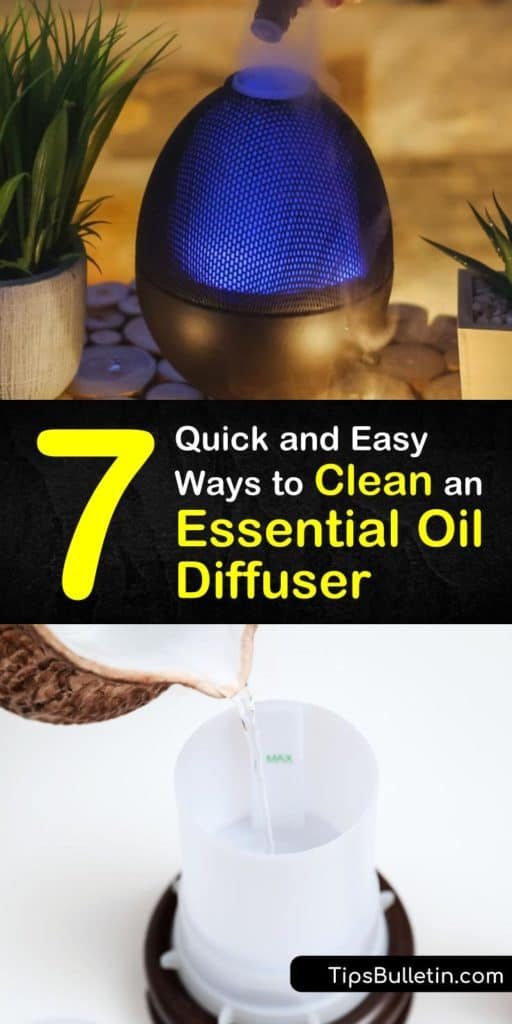 Find out quick and easy ways to clean your essential oil diffuser. Cut down on buildup and mildew with these simple cleaning methods and get the maximum benefits from diffusing your essential oils. #howto #clean #essentialoil #diffuser #diy