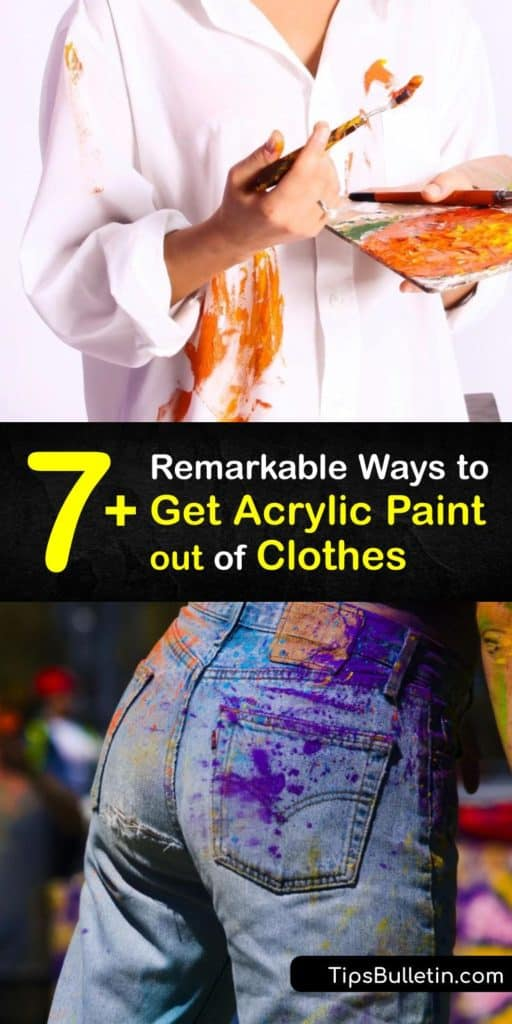 Utilize things found around your home like paper towel, nail polish remover, acetone, and hairspray to remove paint that has stained your favorite clothing. Dab away even the toughest paint stains by finding your favorite homemade stain remover from this list. #acrylic #paint #clothes #remove