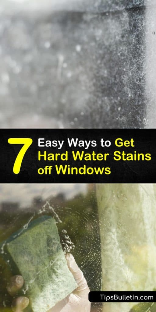 Discover some of the easiest homemade glass cleaner recipes and cleaning products that utilize lemon juice, baking soda, a squeegee, and a spray bottle that quickly evaporates off shower doors and windows while removing hard water stains with ease. #hardwater #stains #windows