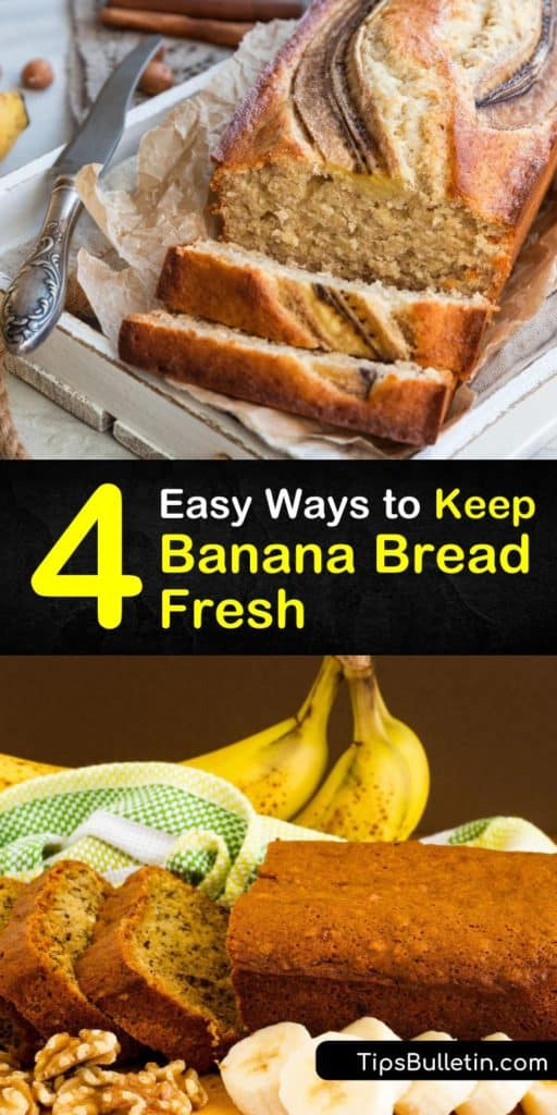 Find out the keys to keeping a loaf of banana bread fresh. After you bake your favorite banana bread recipe, banana bread stays fresh on the countertop in an airtight container but has a longer shelf life in the freezer. #banana #bread #fresh