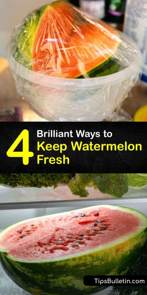 Find out how to prolong the ripeness and shelf life of a whole watermelon. Refrigerate the melon in an airtight container instead of exposing the cut end to room temperature will extend the life. Watermelon and cantaloupe also make for delicious frozen smoothies. #storing #watermelon #fresh