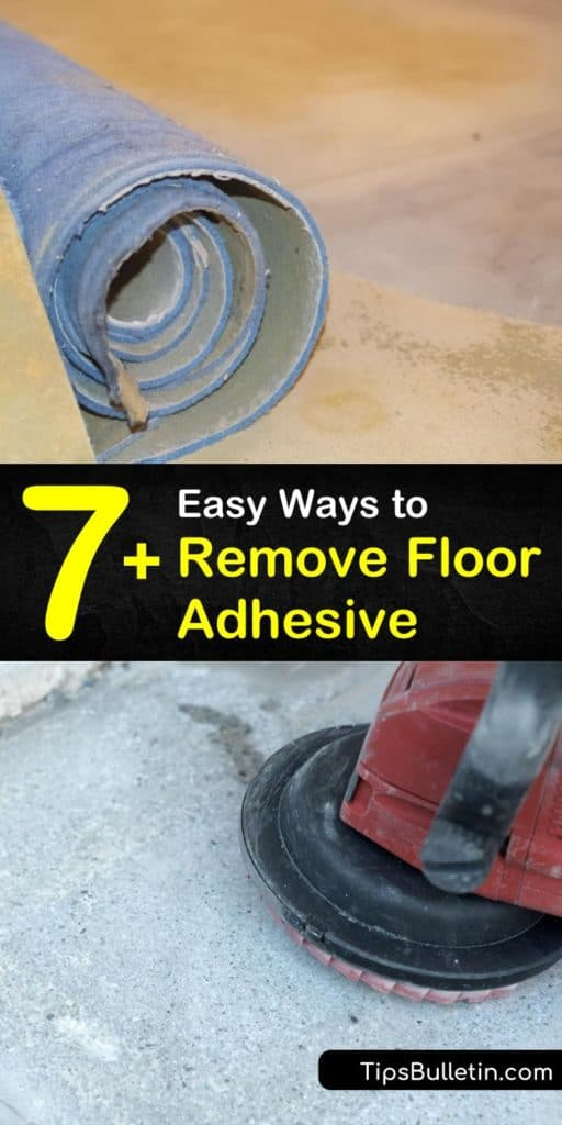 Try these tricks for removing floor adhesive while working on your DIY home improvement projects. Whether you have linoleum over the subfloor or vinyl stuck to a concrete floor, you can use simple tools like hot water and a putty knife. #howto #remove #flooring #adhesive