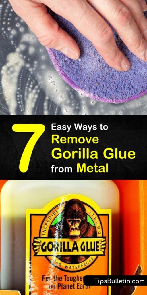 Discover how to remove Gorilla Glue from a hard surface such as metal using a few simple ingredients. It's easy to clean away this adhesive using soapy water and a scraper, or rubbing alcohol and a cotton ball. #remove #gorillaglue #metal #howto