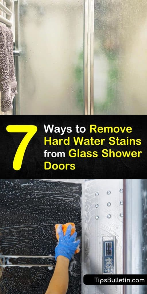 Discover how to remove hard water deposits with a bit of elbow grease and the right cleaner. Use white vinegar, baking soda, a spray bottle, and a bit of scrubbing to clean glass and remove water spots. #glass #shower #door #hardwater #stain #removing