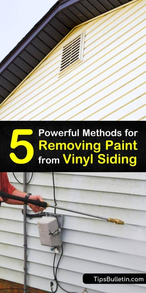Give your vinyl siding a new look with these tips to remove dried paint and paint stains. Mineral spirits, acetone, and isopropyl work as graffiti remover to lift spray paint, acrylic, and some oil-based paints off the siding of your properties. #remove #paint #vinyl #siding