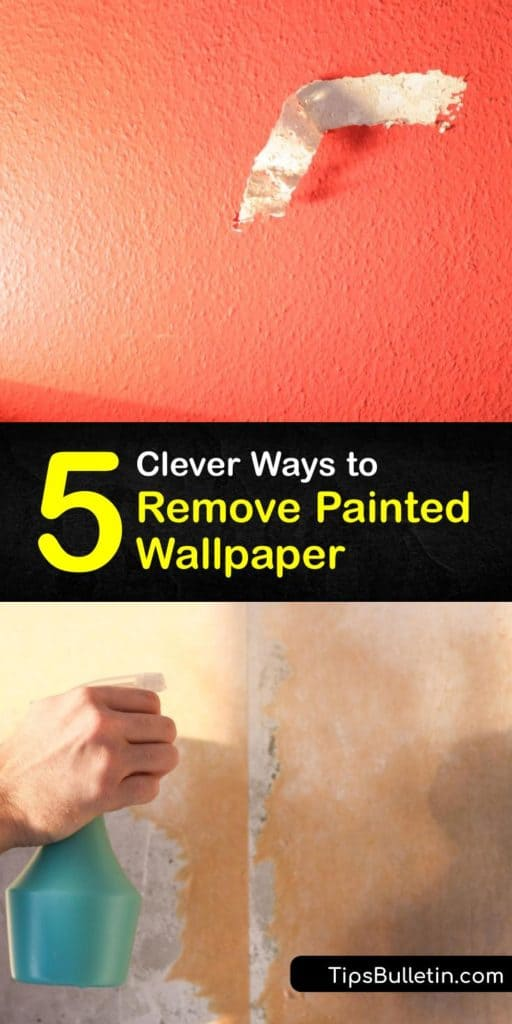 Peel off painted wallpaper with DIY stripper methods. Wallpaper removal is effortless using common materials like a spray bottle, scoring tool, and a scraper. Ingredients like hot water and vinegar easily peel off painted wallpaper. #howto #remove #painted #wallpaper