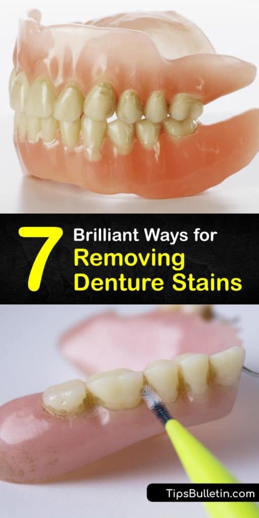 Find out unique whitening denture cleaning and denture care techniques. Baking soda toothpaste and a denture brush remove food particles and act as an amazing denture cleaner. Search no longer for a brilliant denture cleanser. #remove #stains #dentures