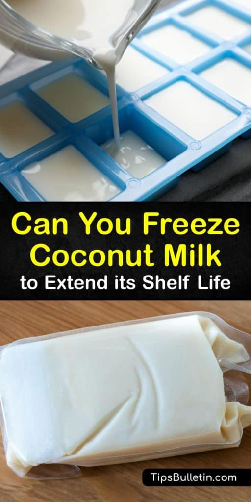 Learn how to freeze a leftover can of coconut milk or fresh milk using ice cube trays and a freezer bag. Fresh and canned coconut milk have a limited shelf life and frozen coconut milk is easy to defrost for a favorite Thai dish. #freeze #coconut #milk