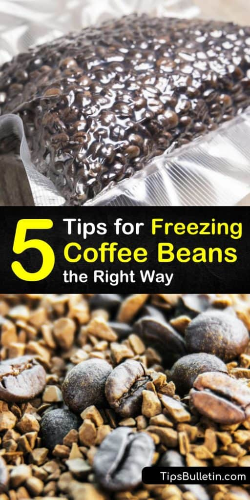 Learn how to store coffee beans in the freezer. Store coffee in a canister or airtight container in the freezer for the freshest roasted coffee beans. Frozen whole beans brew fresh coffee in a roaster with these amazing tips. #howto #freeze #coffee #beans