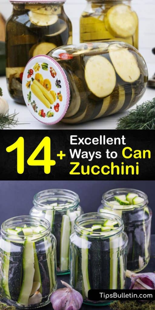 Discover great methods for pickling and canning zucchini and mustard seeds. Pressure canning uses hot water to drive out air for a perfect canning recipe. Processing times vary between recipes. Can zucchini with boiling water in a large pot to form an airtight seal. #howto #can #zucchini