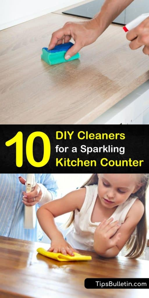 Create your own antibacterial kitchen cleaner with products like baking soda, white vinegar, and dish soap. These natural cleaners include a disinfectant and are mixed in a spray bottle. Discover the wide array of effective homemade cleaners for kitchen counters. #DIY #kitchen #cleaners