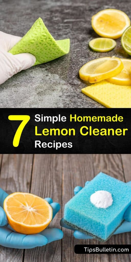 Learn how to use the cleaning power of lemons and citrus peels for non-toxic natural cleaning. Use lemon peels to make a lemon-infused vinegar cleaner, make lemon dishwashing detergent, or make a cleanser with a lemon and baking soda. #homemade #lemon #cleaner #recipe