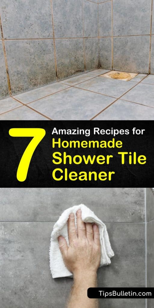 Eliminate build up of soap scum and mildew in your shower with our DIY shower cleaner recipes. Make your own homemade cleaning products using white vinegar, Dawn dish soap, and other common household ingredients. #homemade #shower #tile #cleaner #DIY