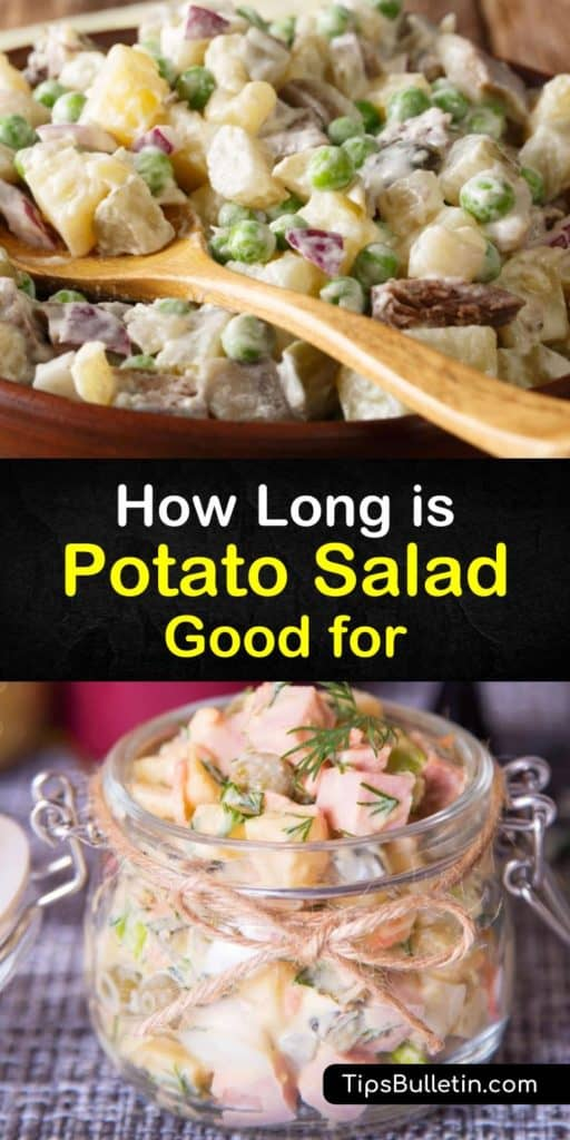 Learn how to store the standard side dish, potato salad, correctly to avoid food poisoning. We provide a delicious potato salad recipe with mayo alternatives like Greek yogurt and sour cream. You must add diced hard boiled eggs and black pepper to complete this dish. #last #potato #salad #howlong