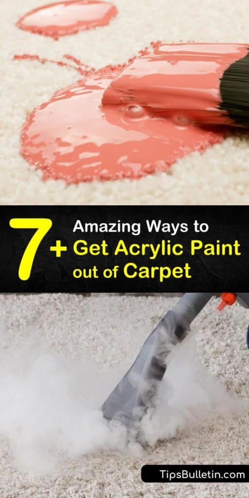 Discover how to remove dried paint with DIY carpet cleaning solutions. Household products like acetone or rubbing alcohol are an amazing carpet cleaner when blotting. Inexpensive tools such as a toothbrush, spray bottle, and a putty knife make the process simpler. #remove #acrylic #paint #carpet