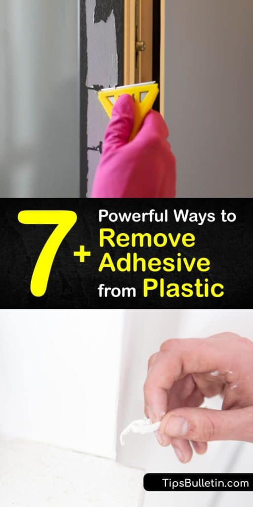 Fire up your hair dryer and mix some hot water, nail polish remover, and mayonnaise to remove sticker residue and glue stains from plastic. Unorthodox products like cooking oil and peanut butter soften the glue and make it easier to get off plastic. #remove #adhesive #plastic