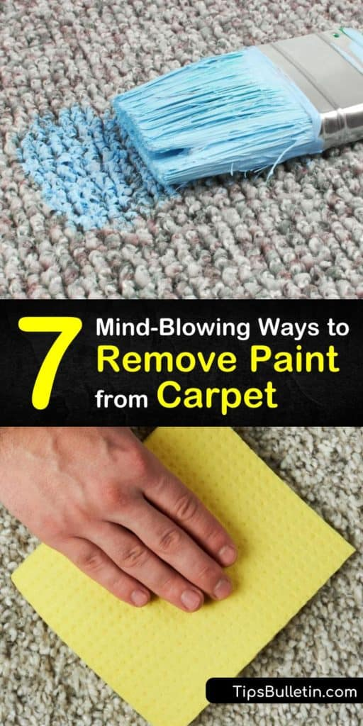 Discover how to remove paint spills from carpeting using the right carpet cleaner. Clean up wet paint immediately by blotting with hot water and remove dried paint from carpet fibers with acetone and other simple cleaners. #howto #remove #paint #carpet #acrylic