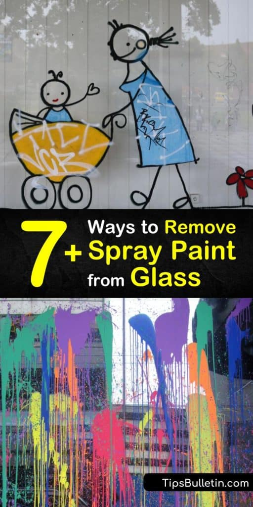 Learn how to use acetone, white vinegar, mineral spirits, and other common household solvents to remove overspray from glass surfaces. All you need is one of these paint remover products, a scraper, and glass cleaner to make the glass shine again. #remove #spray #paint #glass #DIY