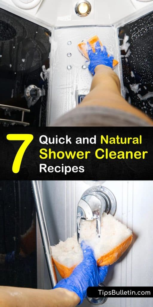 Get rid of mildew build up and soap scum on your shower doors with these DIY solutions. Easy to find household cleaning products like white vinegar, baking soda, and tea tree oil disinfect the surfaces on your shower doors and tub. #diy #shower #cleaner #natural
