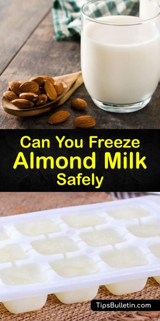 Find out how to extend almond milk's shelf life by making frozen almond milk cubes or freezing it in airtight containers. Defrosting or thawing frozen almond milk is just as important as freezing it. Thawed almond milk is perfect for recipes and smoothies. #freeze #almond #milk